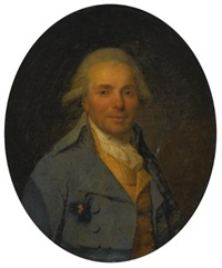 portrait of a man wearing a blue coat by antoine vestier