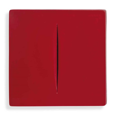 concetto spaziale red by lucio fontana