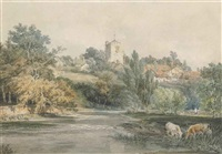 leatherhead, surrey, from across the river mole, with cattle watering in the foreground by joseph mallord william turner
