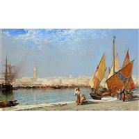 Traders and figures on the harbour, shipping , 1899