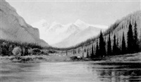 junction of the bow and spary rivers, banff by edward roper