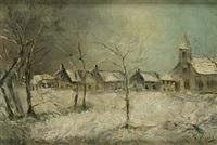 dorp in de sneeuw by guillaume vogels
