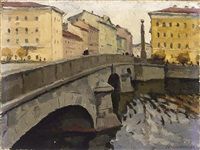a view of fontanka street, leningrad by orest sleschinski