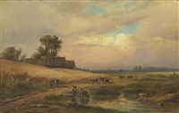 cattle watering in a summer landscape by aleksandr vasil'evich gine