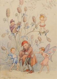a fairy and elves dusting down the coat of an elder by margaret winifred tarrant