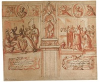design for a wall decoration with scenes from the life of ss. anacletus and sixtus by francesco allegrini
