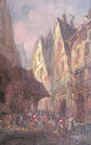 jour de marché dans une vieille ville by paul denarie