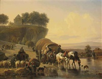 watering the horses by joseph jodocus moerenhout