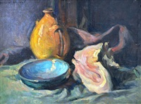 nature morte au coquillage et bol bleu by marcel arnaud