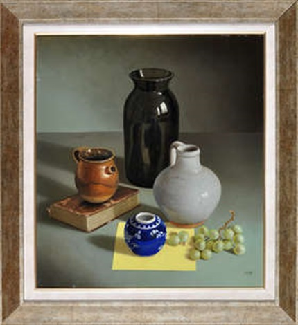 Life Study Of Ceramic Pots And Vases With Grapes And A Calf Bound