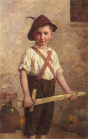boy with a wooden sword by edmund adler