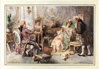 scena settecentesca con pittore e modella by cipriano mannucci