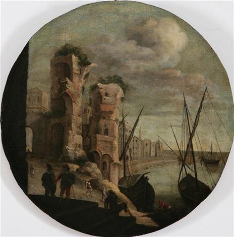 porto immaginario con imbarcazioni by italian school-northern (17)