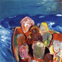 figurkomposition med ansigter på blå baggrund by kristian davidson