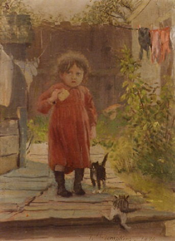 in the alley a girl with her kittens by frank hector tompkins