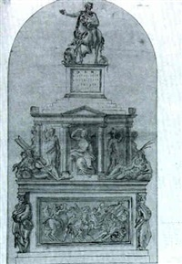 a drawing for a tomb project in commemoration of      francesco il gonzaga; shaped top by giovanni francesco penni