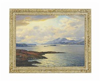 evening on the hills of mull by george melvin rennie