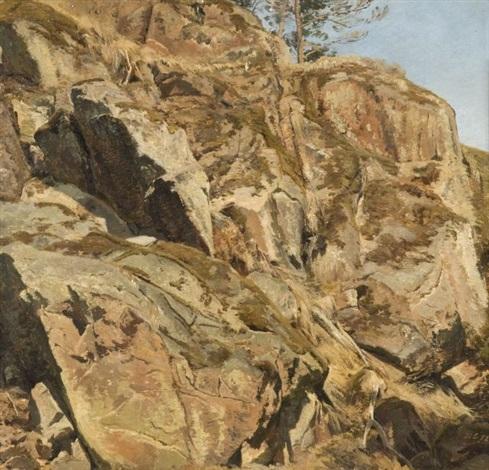 etude de rochers (study) by janus andreas barthotin la cour