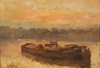 péniche sur un canal by g. vogels