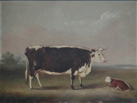 a cow and a calf in a landscape by william henry davis