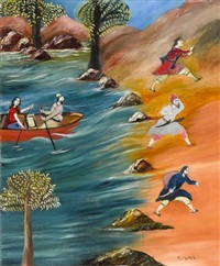 figures fleeing the approach of a boat by tassaduq sohail