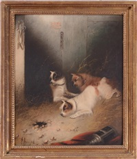 three terriers ratting in a barn by edward armfield