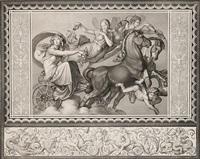 der morgen - eos auf dem zweigespann von phosphoros und den drei horen begleitet, umgeben von einer figürlichen bordüre by peter von cornelius