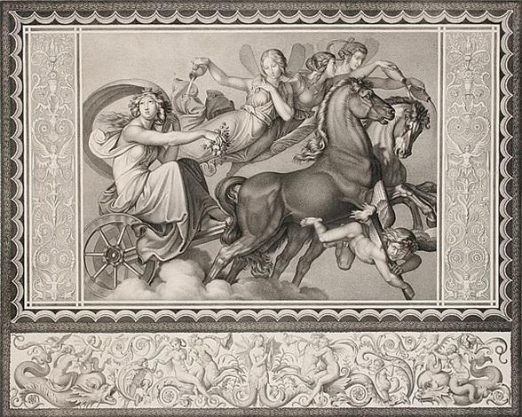 der morgen eos auf dem zweigespann von phosphoros und den drei horen begleitet umgeben von einer figürlichen bordüre by peter von cornelius