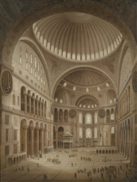interior of the aya sofia, constantinople (after gaspare trajano fossati) by langi