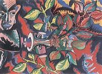 buntfarbige komposition mit figuren und zweigen by claude sandoz