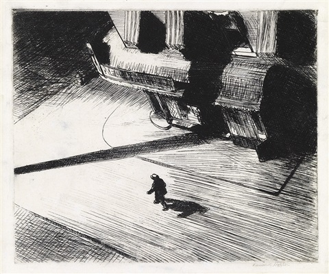 night shadows from corner saloon by edward hopper