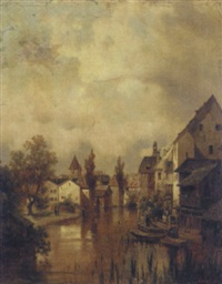 a village on a canal by cesare pesaro