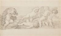 sechs mit der keule des herkules und dem löwenfell spielende putten by johan josef langenhöffel