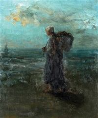 a girl by the shore by jozef israëls