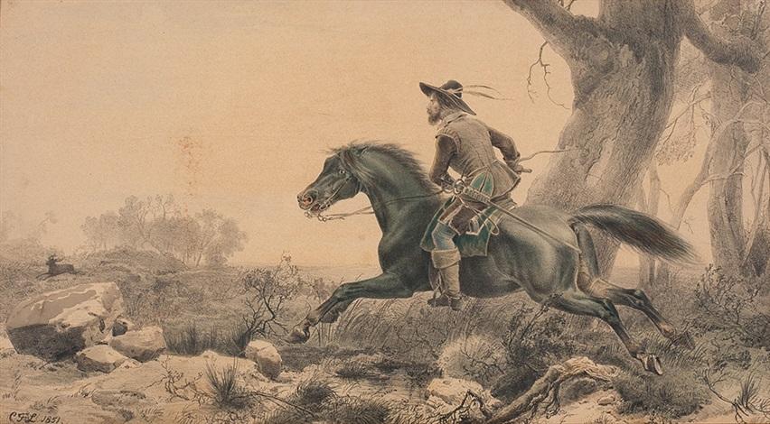 reiter zu pferde bei der jagd by karl friedrich lessing