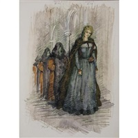 costume designs for mephistopheles and marguerite, beverly sills in gounod's faust by jose varona