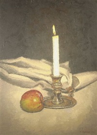 untitled (still life, lit candle in candleholder with apple) by menna angharad