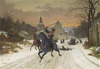 l'embuscade des français contre des hussards allemands by louis marie baader