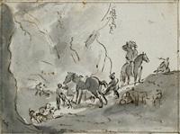 jagdgesellschaft mit hunden vor felslandschaft mit dem pissenden pferd (+ drei hunden (study), chalk; verso) by dirk stoop