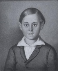 a young boy wearing grey coat and white shirt by w. hajek