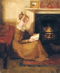 lezende vrouw bij de haard by william mulready
