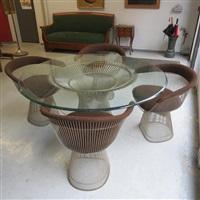 table et 4 fauteuils (set of 5) by warren platner