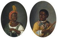 portrait of a young african woman and portrait of a young african man holding a bow (pair) by dirk valkenburg