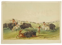 buffalo hunt, chase, pl. 7 (from catlin's north american indian portfolio: hunting scenes and amusements of the rocky mountains and prairies of america) by george catlin