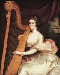 portrait of lady jane mildmay, seated three-quarter-length, in a white silk dress playing the harp by john francis rigaud