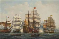 the battle of trafalgar, 21 st october (2 works) by denzil smith