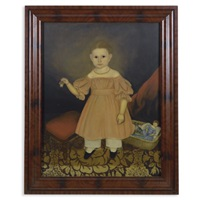portrait of a young girl in pink dress with doll's basket and doll's fruit basket, standing on an ingrain carpet by joseph whiting stock