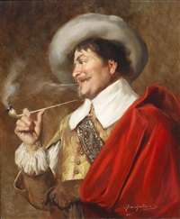 a cavalier smoking a pipe by alex de andreis