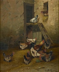 a barnyard scene with chickens by jules bathieu