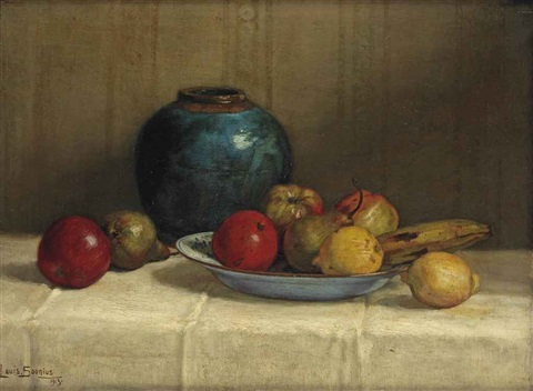 fruits on a blue dish by louis soonius